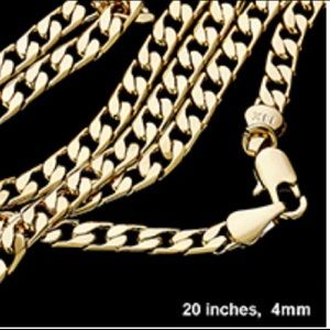 """Men's 20"""" 4mm Gold Plated Cuban Chain"""